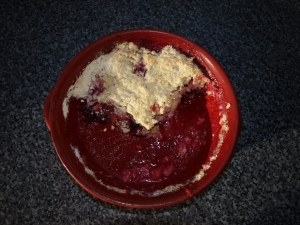 and Mulberry crumble for dessert...